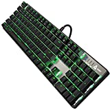 AUKEY Mechanical Keyboard with Blue Switches, 104-key RGB Backlit, Customizable with 9 Presets for PC & Mac Gamers