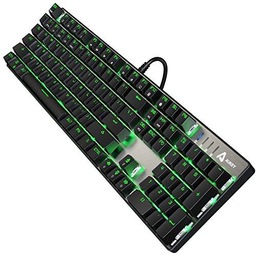 AUKEY-Tastiera-Gaming-104-Full-Keys-Senza-Conflitto-Interruttore-Blu-RGB-Retroilluminazione-Regolabile-Tastiera-di-Gioco-con-Combinazioni-di-Tasti-per-la-Multimedia-per-Giocatori-Dattilografo-Ufficial