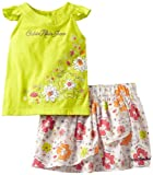 Calvin Klein Girls 2-6x Top With Flower Print Skort, Green, 3T