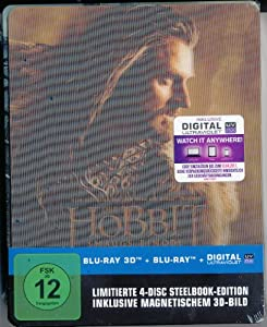 Der Hobbit Smaugs Einöde Limited 4 Disc Edition Lenticular Steelbook Blu-Ray 3D + Blu-Ray + Digital Ultraviolet 3D-Magnet-Lenticularcover