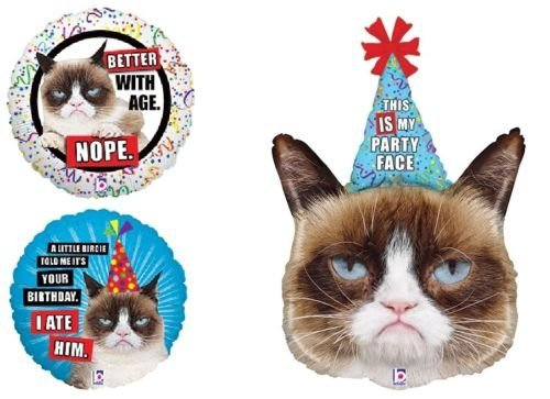LoonBalloon GRUMPY CAT Kitty Kitten Party Hat Face Happy Birthday Party 3 Mylar Balloons Set (Grumpy Cat Party Supplies compare prices)