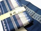 本筑博多献上 正絹小袋帯 半巾帯 浴衣帯 華悦 縞に丸柄 にしむら織物謹製 (紺地)