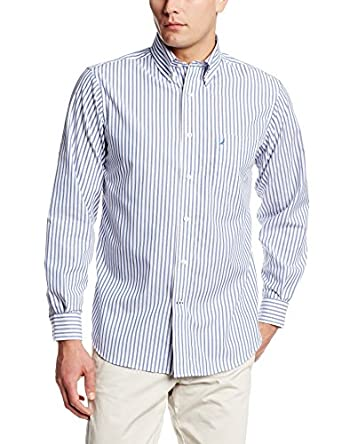 Nautica men 39 s wrinkle resistant striped button down shirt for Wrinkle free dress shirts amazon