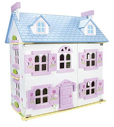 Bella Alpina Casa delle bambole in legno con mobili di famiglia e bambole