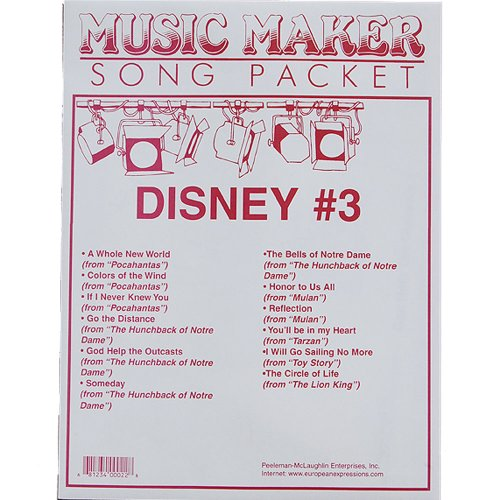 Disney #3 songsheet packet for the Music Maker - 1