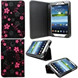 Sleek Gadgets® - Black Floral Flower Case Cover for Samsung Galaxy Tab 3 7.0 P3200 Tablet
