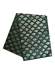 Brocade unstitched Fabric by JDK NOVELTY - Green base leaf design fabric (A-4-GREEN_1M) One meter long