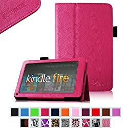 FINTIE (Magenta) Slim Fit Folio Stand Leather Case for Amazon Kindle Fire 7 Tablet -10 Color Options (does not fit Kindle Fire HD)