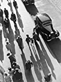 Crowd of People Strolling down City Sidewalk by Wolff-Tritschler - Fine Art Print on CANVAS : 39 x 51.75 Inches