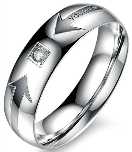 "Amdxd His Stainless Steel Carbide Steel Men'S Rings ""You Are My Love"" Cz Heart Arrow 6Mm Us 9"