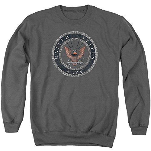 Navy Rough Emblem Nautical Rope And Chain US Navy Adult Crewneck Sweatshirt (United States Navy Sweatshirt compare prices)