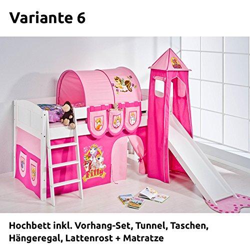 Hochbett Spielbett IDA Filly, mit Turm, Rutsche und Vorhang, weiß, Variante 6 günstig bestellen