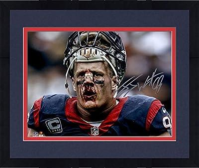 "Framed J.J. Watt Houston Texans Autographed 16"" x 20"" Broken Nose Photograph - Fanatics Authentic Certified"