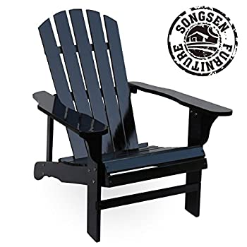 Songsen Outdoor Wood Adirondack Chairs/Muskoka Chair Patio Deck Garden Furniture (Black)