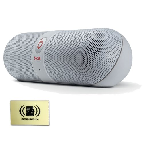 Beats By Dr. Dre Pill Bluetooth Wireless Powerful Compact Audio System (White) Bundle With Custom Designed Zorro Sounds Instrument Cloth