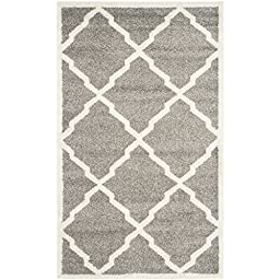 Safavieh Amherst Collection AMT421R Dark Grey and Beige Indoor/ Outdoor Area Rug, 3 feet by 5 feet (3\' x 5\')