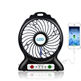Portable USB Fan Battery Operated Fan with Flashlight, Quiet and Powerful Rechargeable Desk Fan for Phone Charge, Outdoor, Office, Backpacking (Black)