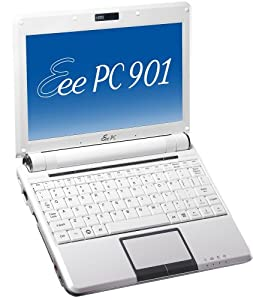 Asus Eee PC 901-W 22,6 cm (8,9 Zoll) WVGA Netbook (Intel Atom N270 1,6GHz, 1GB RAM, 12GB SSD, XP Home) weiß