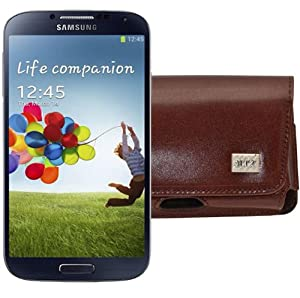 MTT Original Quer-Tasche mit Gürtelclip und Sicherheitschlaufe für Samsung Galaxy S4 i9500 (i9505 LTE Version) braun