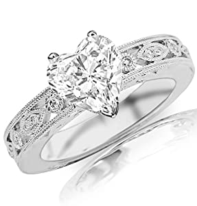 0.89 Carat Heart Cut / Shape 14K White Gold Antique / Vintage Bezel Set Designer Diamond Engagement Ring ( H-I Color , SI1 Clarity )