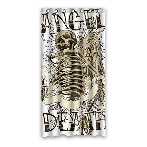 """Elementi di stile punk Avantgarde. Angelo del cranio. MORTE DI ANGEI. Colore di sfondo è bianco Disegno 100% poliestere tessuti impermeabile bagno Shower Curtain 36""""x72"""" (90cm x 183cm)"""