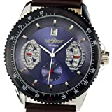 Spwatches New Gents Men Automatic Wrist Watch Brown Leather Strap Blue Dial WM123