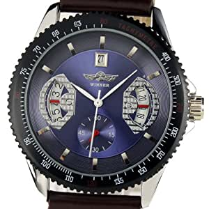 ESS Gents Men's Automatic Wrist Watch with Black Leather Strap Blue Dial WM123