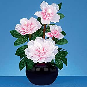 40cm Fibre Optic Pink Potted Peony Plant