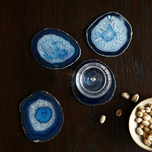Great Deal! Moontree Nature Polished Agate Coasters Gemstone Coasters Crystal Slice Coaster-4pcs Blu...