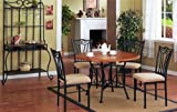 5pc Black Metal & Wood Round Dining Room Table & Chair Set