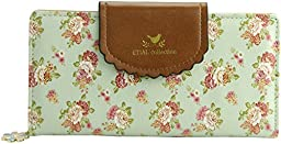 ETIAL Women\'s Vintage Floral Zip Wallet Faux Leather Card Holder Green