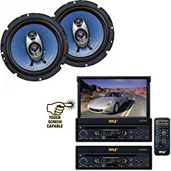 See Pyle Vehicle Audio System for Car, Van, Truck, Mobile etc. - PLTS73FX 7' Single DIN In-Dash Motorized Touch Screen TFT/LCD Monitor w/ DVD/CD/MP3/MP4/USB/SD/AM-FM Player - PL63BL 6.5' 360 Watt Three-Way Speakers (Pair) Details