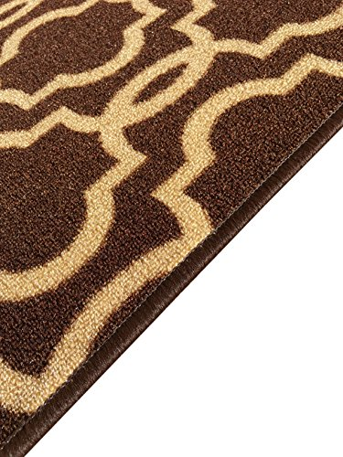 Rubber backed mat 18 x 32 fancy moroccan trellis chocolate brown beige doormat accent non for Chocolate brown bathroom rugs