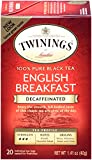 Twinings English Breakfast Tea, Decaffeinated, Tea Bags, 20-Count Boxes (Pack of 6)