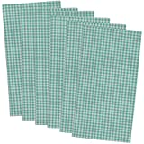 "DII 100% Cotton, Oversized Basic Everyday 20x20"" Napkin Set of 6, Aqua Check"
