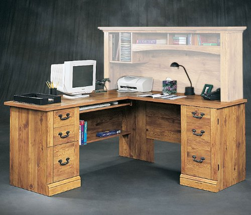 Bishop Pine L-Desk Cottage Home Collection by Sauder Office Furniture - OFG-DH1027