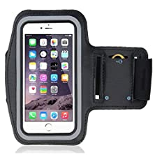 buy Black Menba Sports Gym Running Biking Jogging Excercise Workout Adjustable Armband Case For Apple Iphone 6 5.5 Inch & Samsung Galaxy S6 / S6 Edge 5.1 Inch (Black)