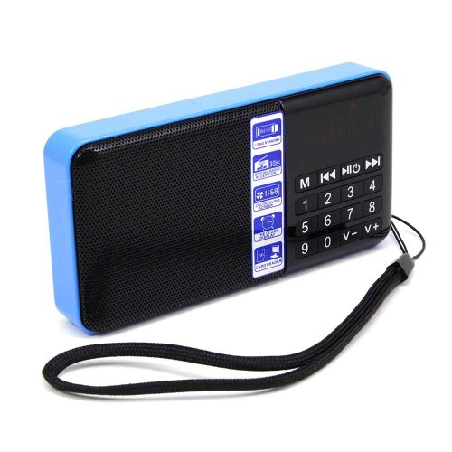 Hi-Rice Portable Mini Digital Media Speaker With Fm Radio Usb Micro Sd Slot Clock Display (Blue)
