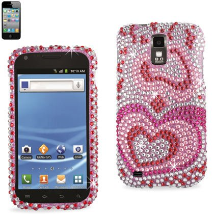 Reiko RKDPC-SAMT989-04 Premium Rhinestone Diamond Bedazzled Bling Hard Shell Snap-On Protector Case Cover for T-Mobile Models and Galaxy S2 - Heart Pattern - 1 Pack - Retail Packaging - Multi