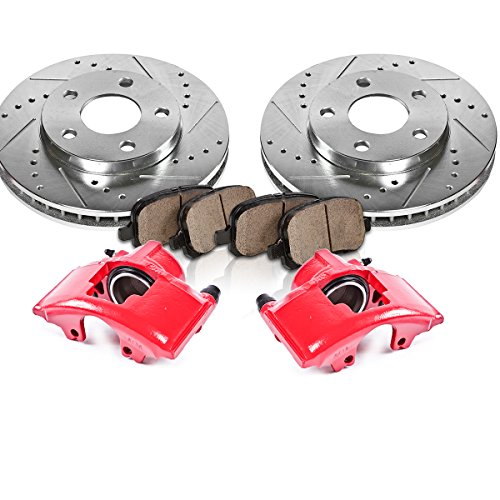 FRONT Red [2] Calipers + [2] Rotors + Quiet Low Dust [4