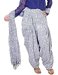 Fashion Store Women Printed Solid Cotton Black & White Patiala Salwar Dupatta Set(Free Size,Multi Color)