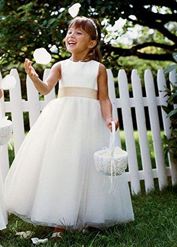 SAMPLE: Satin Flower Girl Wedding Dress with Tulle Skirt Style AI17010732,...