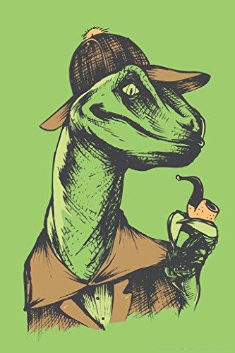 Velociholmes Sherlock Holmes Dinosaur Humor Poster 12x18 (Sherlock Holmes Fan compare prices)