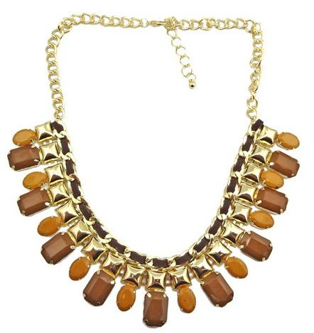 Brown Chunky Bread Bubble Statement Bib Necklace Resin Stone Golden Jewelry(wp-44)