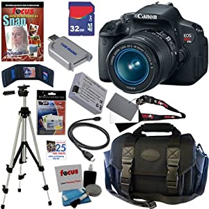 Canon EOS Rebel T4i 18.0 MP CMOS Digital SLR Camera with EF-S 18-55mm f/3.5-5.6 IS II Zoom Lens + 11pc Bundle 32GB Deluxe Accessory Kit