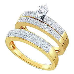 14k Yellow Gold Marquise Diamond His Hers Matching Trio Wedding Bridal Engagement Ring Band Set .50 Cttw