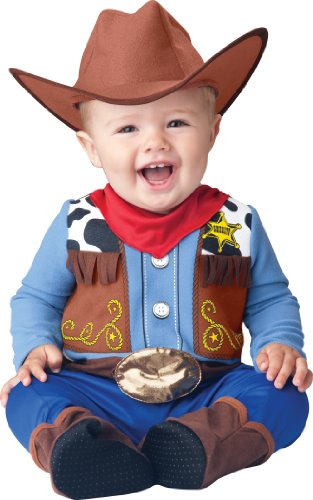 InCharacter Baby Boy's Wee Wrangler Cowboy Costume, Tan/Blue, Small