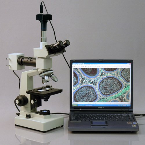 Amscope Me300Tzb-2L-P Digital Episcopic And Diascopic Trinocular Metallurgical Microscope, Wf10X And Wf20X Eyepieces, 40X-2000X Magnification, Halogen Illumination With Rheostat, Double-Layer Mechanical Stage, Sliding Head, High-Resolution Optics, Include