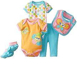 NUBY Baby-Girls Newborn 5 Piece Set Baby Flower, Orange, 3-6 Months