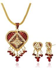 "AAKSHI ""Laal Rang Pyaara Lagge"" Engraved Designer Heart Pendant Jewellery Set (AKS_ST_HRTR)"